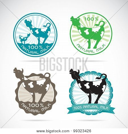 Set Of Vector Dairy Cow Labels On White Background