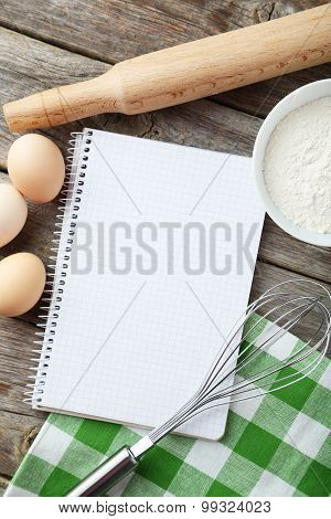 Open Blank Recipe Book On Grey Wooden Background