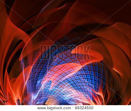 Abstract Fantasy Fire With Blue Grid Tunnel