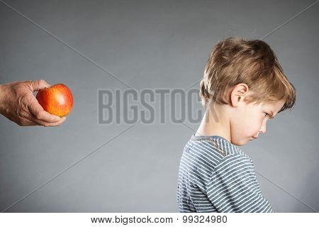 Portrait Of Boy, Hand With Apple, Refused, Grey Background