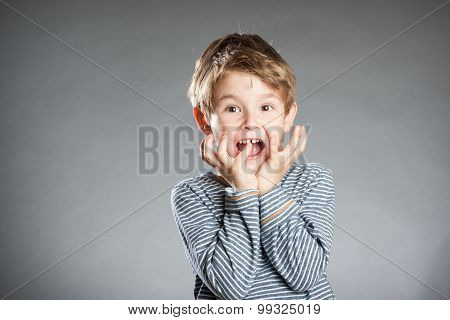 Portrait Of Boy, Emotion, Anxiety, Grey Background