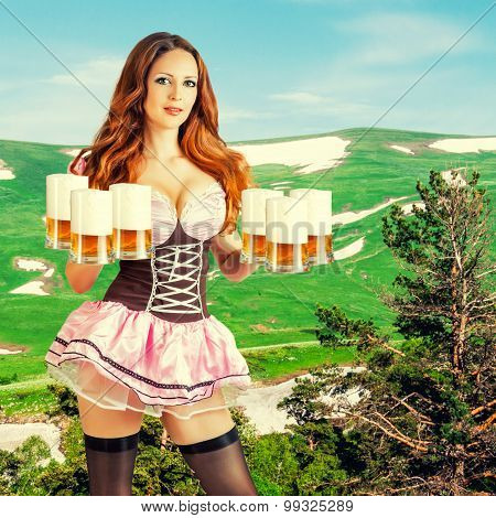 Oktoberfest Woman Holding Six Beer Mugs