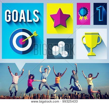 Goals Achievement Successful Winner Target Concept