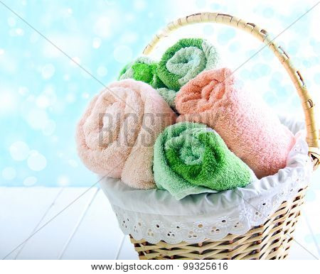 Different Colors Towels  In Wicker Basket