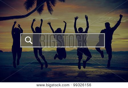 Summer Togetherness Friendship Searching Internet Concept