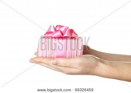 Female Hands Holding Gift Box On White Background