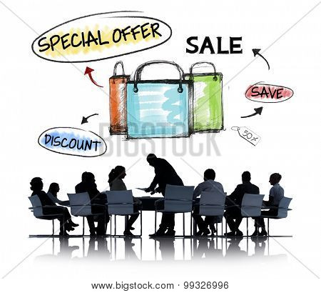 Business People in a Meeting and Sale Concepts