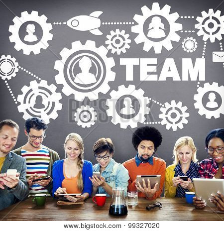 Team Functionality Teamwork Connection Technology Concept