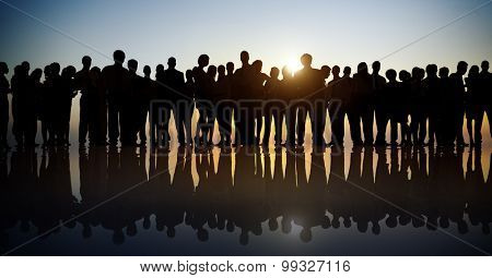 Group People Corporate Business Standing Silhouette Concept