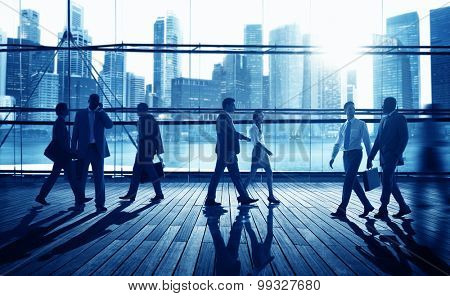 Business People Commuter Walking Corporate Concept