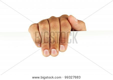 Man's hand holding a white sheet of paper
