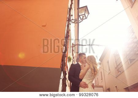 Bride And Groom In The Sunlight