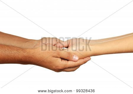 Hands of man and woman