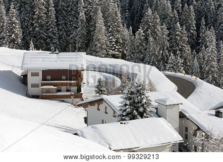 Chalets On The Side Of A Mountain, Near The Village Of Warth-Schrocken, In Austria
