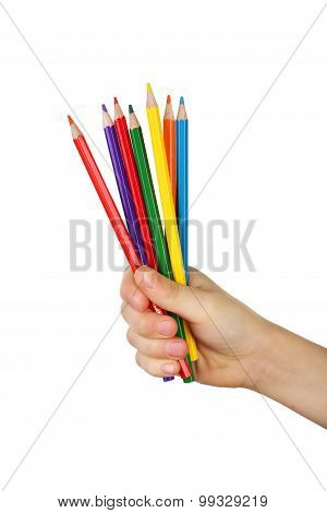 Colorful Pencils In Child Hand On White Background