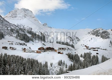 The Picturesque Alpine Village Of Warth-schrocken, In Austria