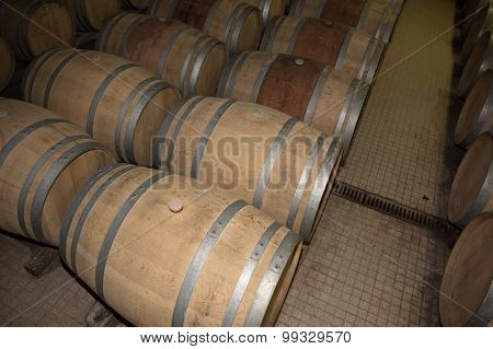Wine Cellar With Rusty Wooden Barrels