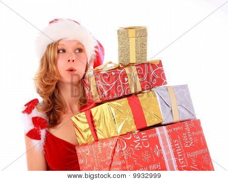 Miss Santa Is Carrying Gift Boxes
