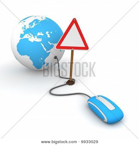 Surfing The Web In Blue - Blocked By A Triangular Warning Sign