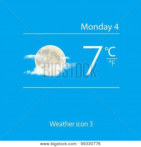 Realistic weather icon - moon with clouds. Vector illustration