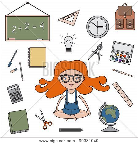 Classroom objects outline icons