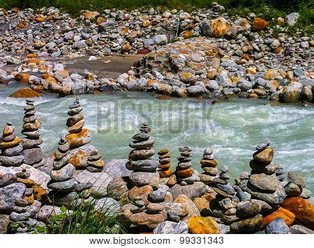 stone formations beside river