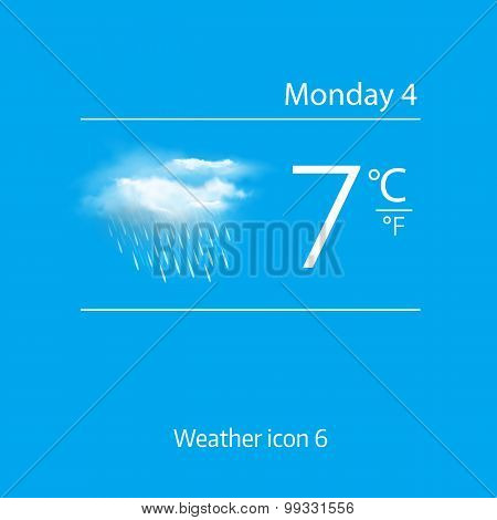 Realistic weather icon - cloud with downpour.  Vector illustration