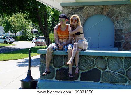 Couple on Ledge