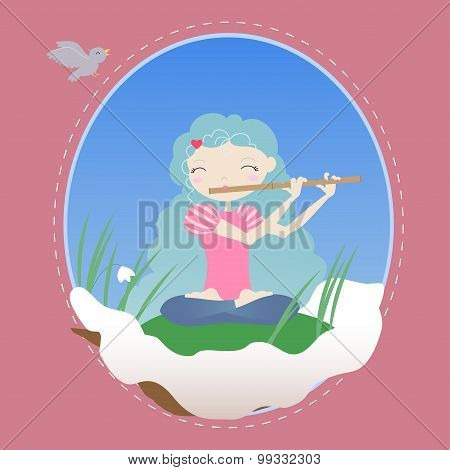 Girl In The Snow With A Flute And Snowdrops