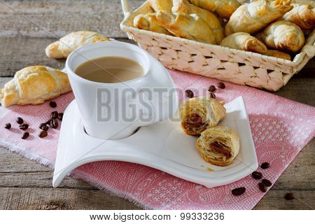 Fresh Homemade Croissants And French Cup Of Hot Coffee