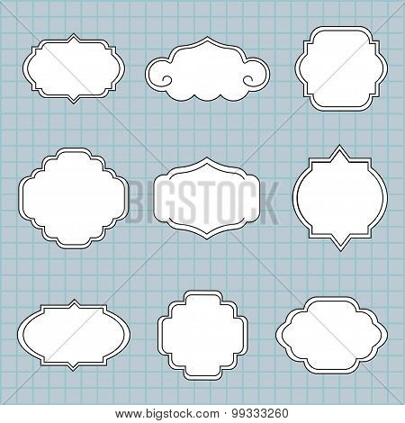 Set of vector labels on a blue background