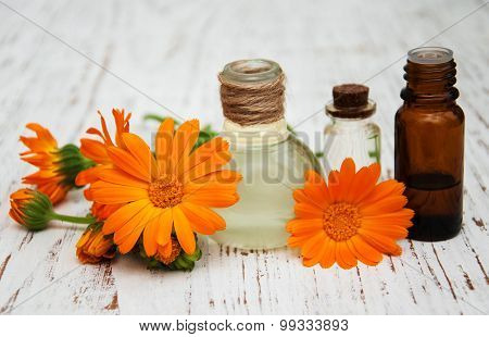 Calendula Oil In A Glass Bottles