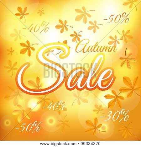 Autumn Sale Background With Chestnut Leaves