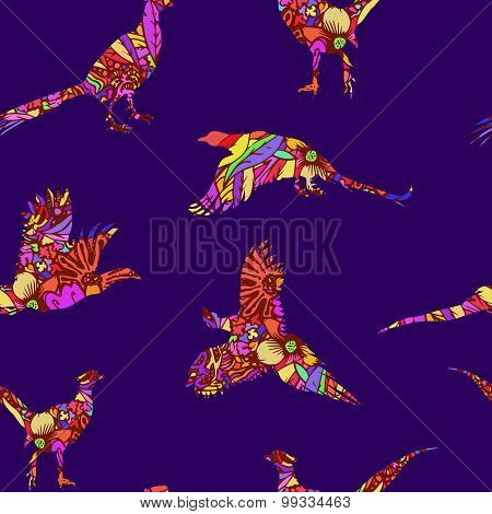 Seamless pattern of bird pheasant, vector silhouettes.
