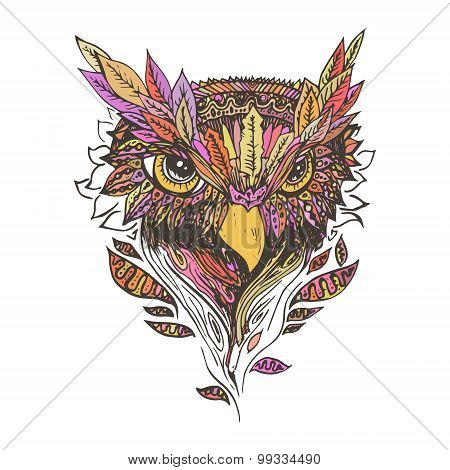 Abstract colored owl, print.