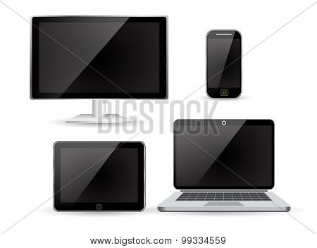 set realistic Monitors laptop tablet and phone