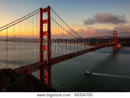 Famous Golden Gate Bridge in San Francisco at sunrise, California