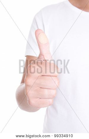 Male Hand With Circle Medical Adhesive Patch Thumbs Up Isolated On White
