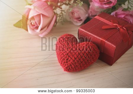 Rose And With Red Gift Box And Red Heart Shape, Valentine's Day Concept