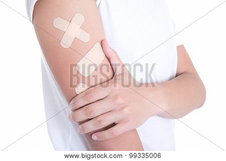 Different Medical Adhesive Plasters On Male Hand