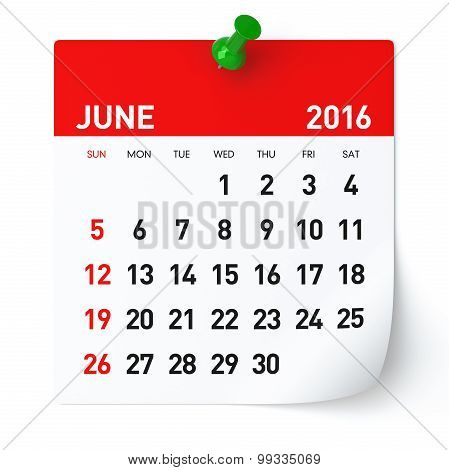 June 2016 - Calendar.