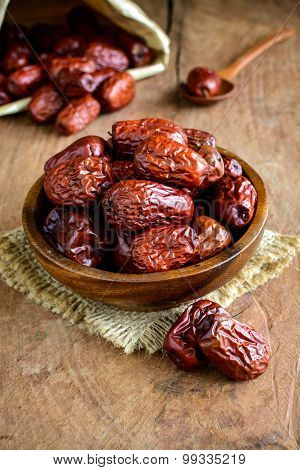 Dried Jujube Fruits On Wooden Table
