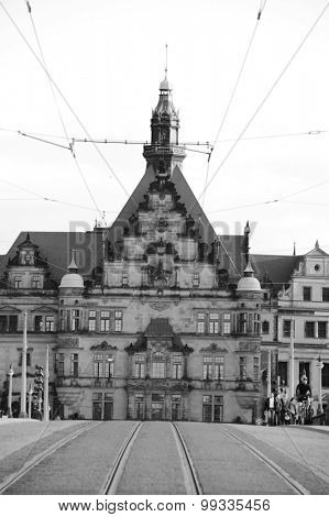 DRESDEN, GERMANY - MAY 13, 2009: Dresden city center. Dresden is the capital city of the Free State of Saxony in Germany. It is situated in a valley on the River Elbe, near the Czech border.