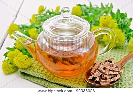 Tea of Rhodiola rosea in glass teapot with spoon on board