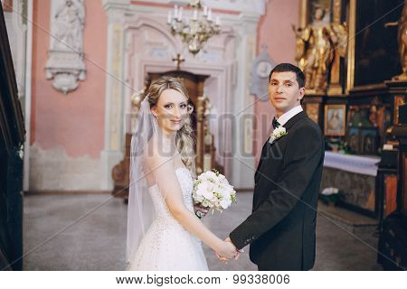 Wedding couple in church
