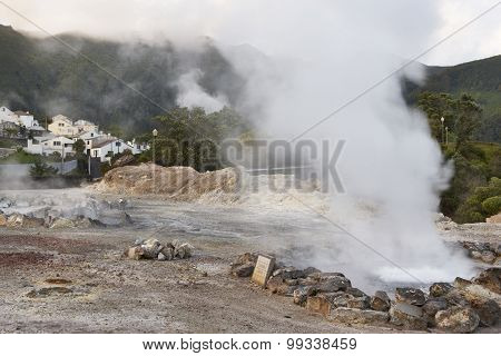 Hot Spring Waters In Furnas, Sao Miguel. Azores. Portugal