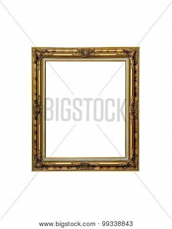 Antique Golden Frame Isolated On White