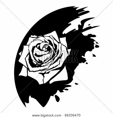 Rose Flower Design Elements. Black Blob
