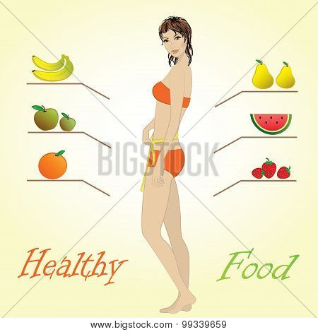 Girl And Fruits, Vector Infographics