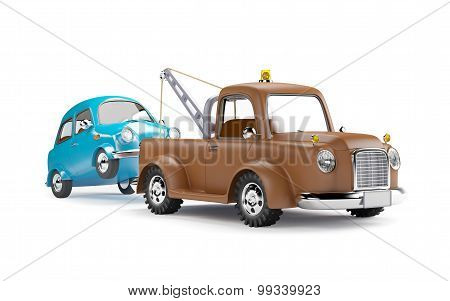 tow truck and car